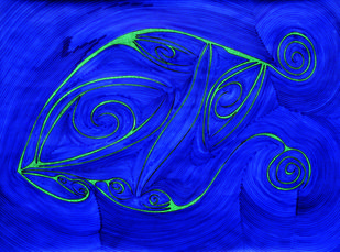 Losing Sight of Perspective - Blue by Dhanur Goyal, Abstract Painting, Ink on Paper, Blue color