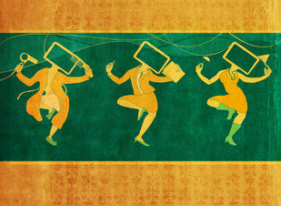Gentle Women by Smruthi Gargi Eswar, Digital Digital Art, Digital Print on Archival Paper, Green color