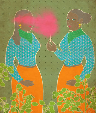 Twins by Smruthi Gargi Eswar, Digital Digital Art, Digital Print on Archival Paper, Beige color