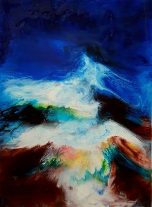 Mother Nature by Anjalee S Goel, Abstract Painting, Mixed Media on Canvas, Blue color