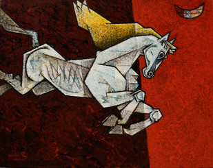 Charging Ahead In My Dreams 9 by Dinkar Jadhav, Decorative Painting, Acrylic on Canvas, Brown color