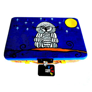 Trippy Trinket boxes- handpainted keepsake box -It's a hoot Decorative Box By Pyjama Party Studio