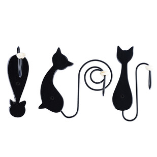 PoppadumArt Hang Meow't Cat hooks (Set of 3) Wall Decor By PoppadumArt