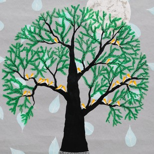 Saksham Vriksh by Sumit Mehndiratta, Decorative Painting, Acrylic & Ink on Paper, Gray color