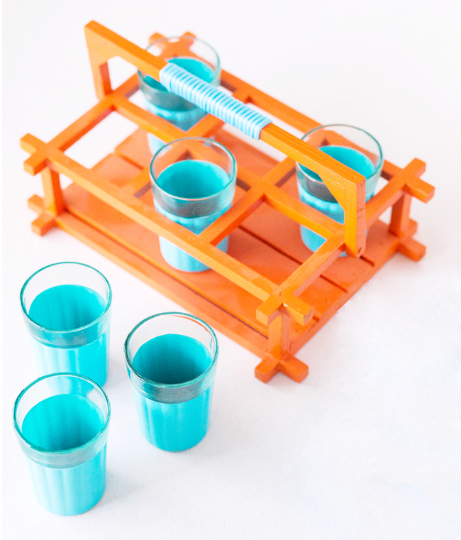 PoppadumArt Chai Glasses - Aquamarine and Orange Serveware By PoppadumArt