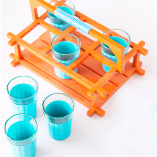 PoppadumArt Chai Glasses - Aquamarine and Orange Serveware By PoppadumArt