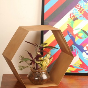 Golden Metal Hexagonal Space Saver Furniture By Designmint