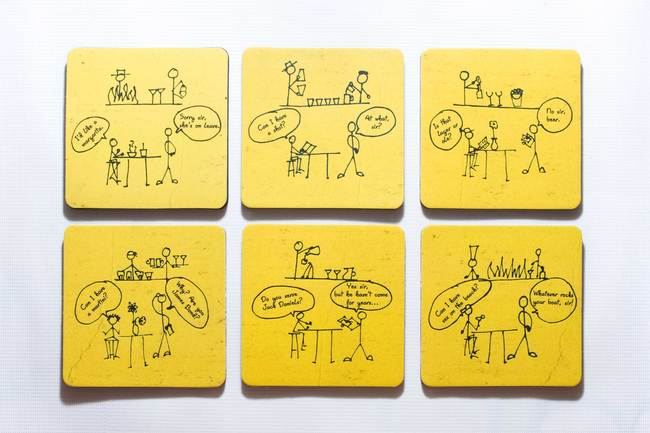 PoppadumArt Dumb Bartender Coasters - Set of 6 Table Ware By PoppadumArt