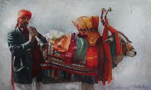 Boom Boom Cow by Iruvan Karunakaran, Impressionism Painting, Acrylic on Canvas,