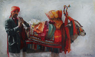 Boom Boom Cow by Iruvan Karunakaran, Impressionism Painting, Acrylic on Canvas,