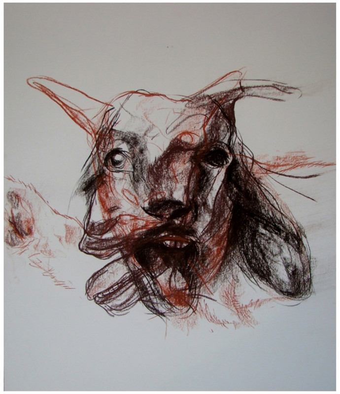The Beast Within by Durgaprasad Bandi, Illustration Painting, Pastel on Paper, Gray color