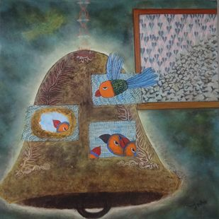 Untitled by Manisha Pandey Mishra, Decorative Painting, Acrylic on Canvas, Brown color