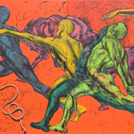 Revellers ii 78x100 %28diptych%29 oil on canvas and rope