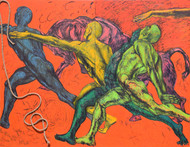 Revellers III by Meena Deora, Expressionism Painting, Mixed Media on Canvas, Brown color