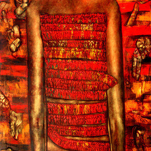 Relieve by Meena Deora, Expressionism Painting, Oil on Canvas, Red color