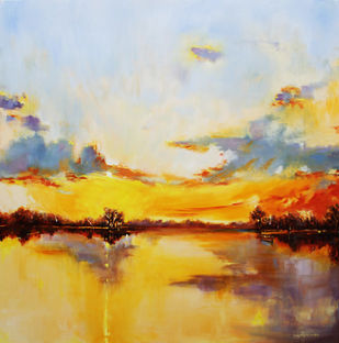 Touch Of Gold by Nidhi Rajput Bhatia, Impressionism Painting, Oil on Linen, Beige color