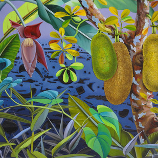 Jack Fruits by Sanjay Biswal, Decorative Painting, Acrylic on Canvas, Green color