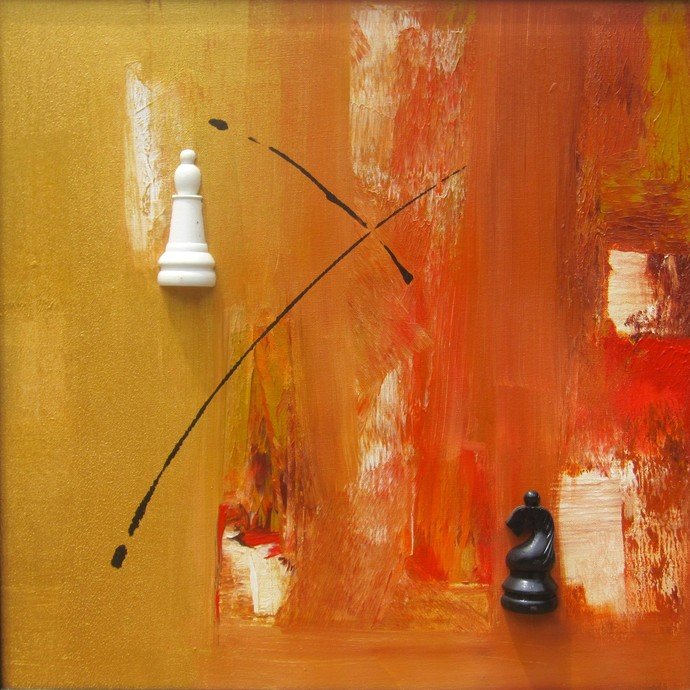 Mindscape - The Chess Series by Anita Vilas Kulkarni, Abstract Painting, Mixed Media on Canvas, Orange color