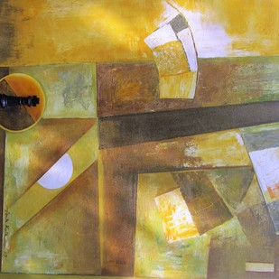 Mindscape - The chess series by Anita Vilas Kulkarni, Abstract Painting, Mixed Media on Canvas, Brown color