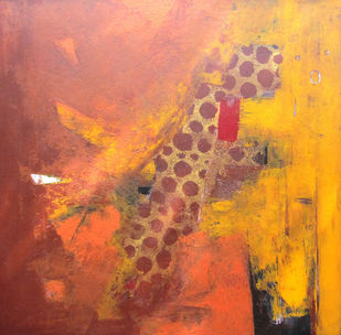 Maya series by Anita Vilas Kulkarni, Abstract Painting, Acrylic on Canvas, Brown color