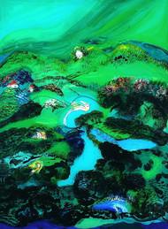 Dudharaj by Sumati Gangopadhya, Impressionism Painting, Acrylic on Acrylic Sheet, Green color