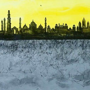​A Tale Of Two Cities 1 by Manisha Gawade, Impressionism Painting, Acrylic on Canvas, Yellow color