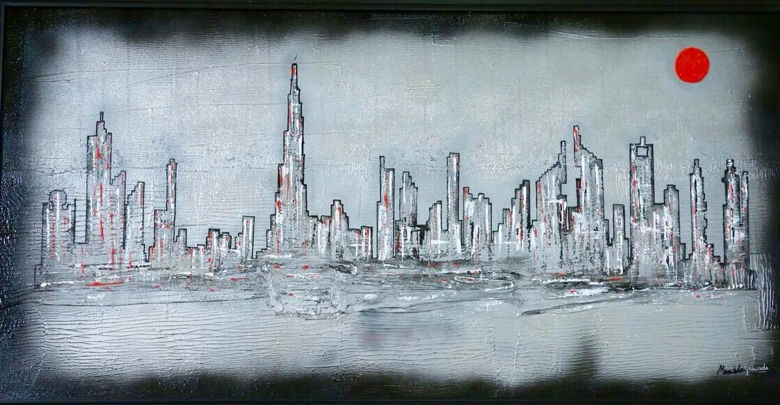 ​ ​​A Tale Of Two Cities 2 by Manisha Gawade, Impressionism Painting, Acrylic on Canvas, Grey color