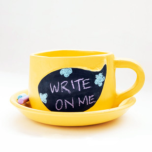 PoppadumArt Write-on-me Planter - Speech Bubble Yellow Garden Decor By PoppadumArt