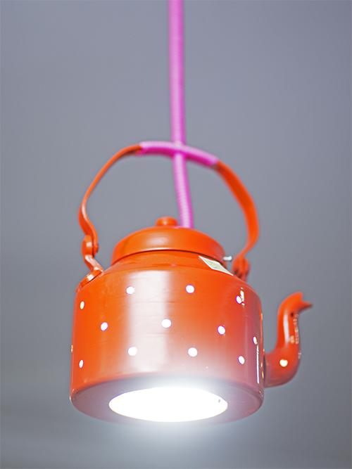 PoppadumArt Kettle Lamp Orange Ceiling Lamp By PoppadumArt