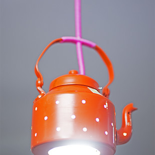 PoppadumArt Kettle Lamp Orange Ceiling Lamp By PoppadumArt