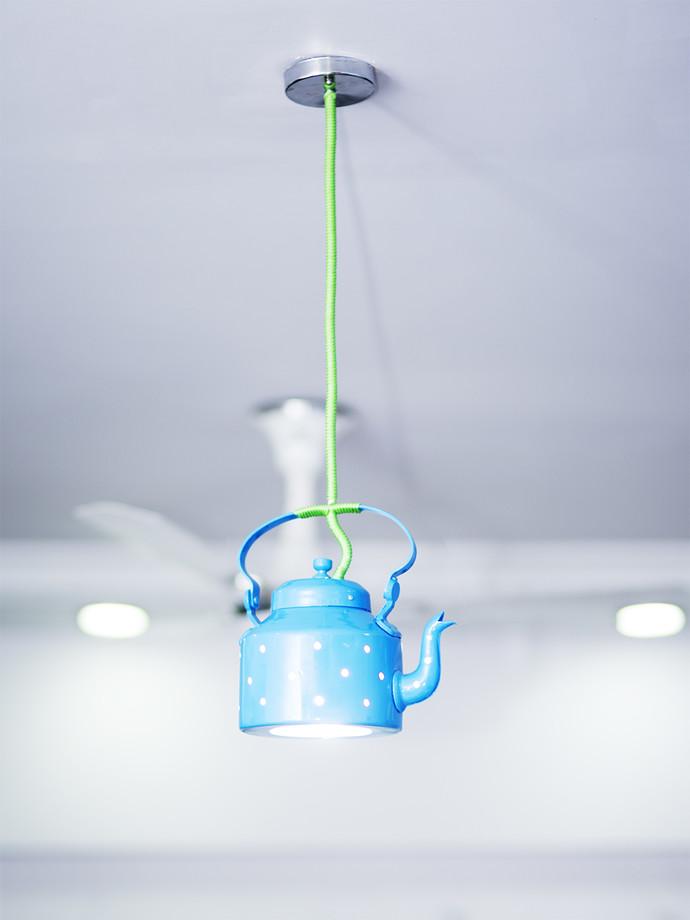 PoppadumArt Kettle Lamp Blue Ceiling Lamp By PoppadumArt