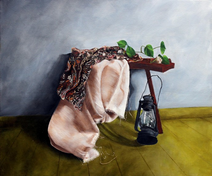 Untitled by Geetha Ramasesh, Realism Painting, Oil on Canvas, Brown color