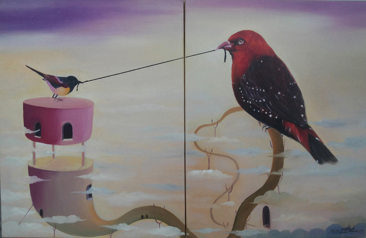 Bird With Thread by Uma Shankar Pathak, Surrealism Painting, Oil on Canvas, Gray color