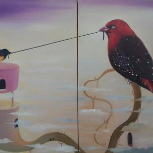 Bird With Thread by Uma Shankar Pathak, Surrealism Painting, Oil on Canvas, Gray color