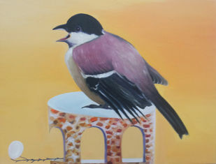 Cyring Bird by Uma Shankar Pathak, Impressionism Painting, Oil on Canvas, Beige color