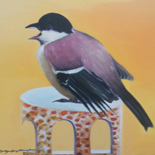 Cyring Bird by Uma Shankar Pathak, Impressionism Painting, Oil on Canvas, Beige color