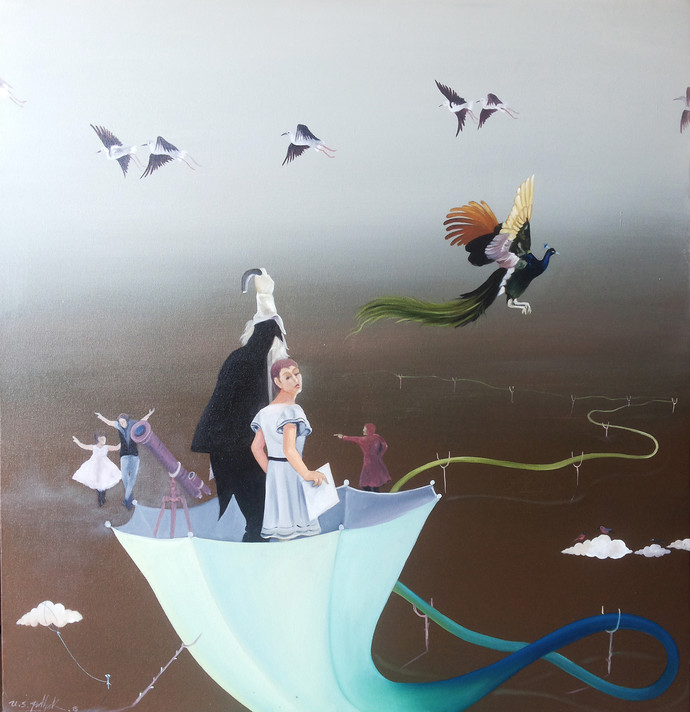 Magician by Uma Shankar Pathak, Surrealism Painting, Oil & Acrylic on Canvas, Gray color