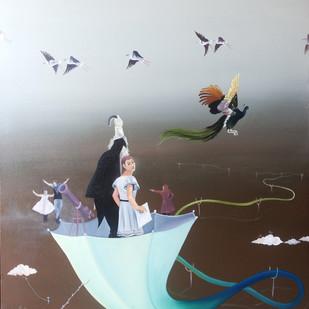 Magician by Uma Shankar Pathak, Surrealism Painting, Oil & Acrylic on Canvas, Gray color