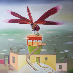 Sweet Home by Uma Shankar Pathak, Surrealism Painting, Oil & Acrylic on Canvas, Brown color