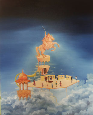 Untitled by Uma Shankar Pathak, Surrealism Painting, Oil on Canvas, Blue color