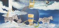 Water With Birds by Uma Shankar Pathak, Surrealism Painting, Oil on Canvas, Gray color