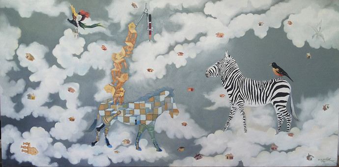 Zebra with bird by artist uma shankar pathak surrealism painting zebra with bird by uma shankar pathak surrealism painting oil on canvas gray altavistaventures Images
