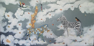 Zebra with bird by Uma Shankar Pathak, Surrealism Painting, Oil on Canvas, Gray color