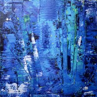 Aqua by Taru Shikha, Abstract Painting, Acrylic on Canvas, Blue color