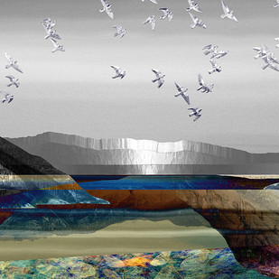 Landscape in Colour by Gautam Chaturvedi, Digital Digital Art, Digital Print on Canvas, Gray color