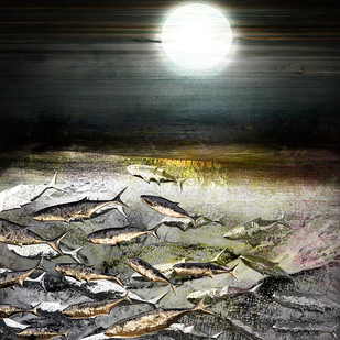 On a Moonlit Night by Gautam Chaturvedi, Digital Digital Art, Digital Print on Canvas, Gray color