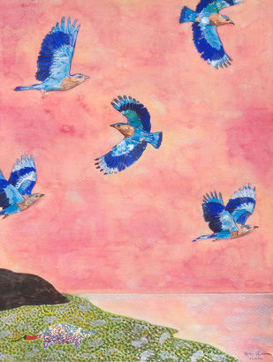 Flight 1 by Ajay Sharma, Impressionism Painting, Mixed Media on Paper, Pink color