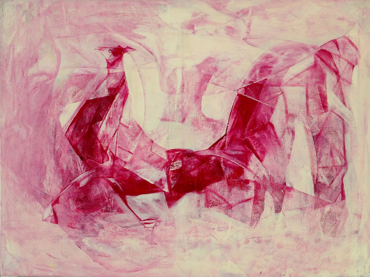 Rooster by Priyendra Shukla, Expressionism Painting, Acrylic on Canvas, Pink color