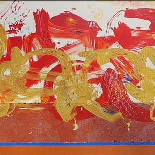 Jatra by Shridhar Iyer, Abstract Painting, Acrylic on Canvas, Red color