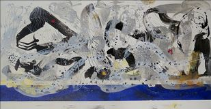 Jatra by Shridhar Iyer, Abstract Painting, Acrylic on Canvas, White color